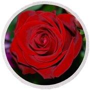 Red Velvet Rose Round Beach Towel by Connie Fox