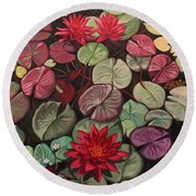 Red Water Lilies Round Beach Towel