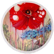 Round Beach Towel featuring the painting Red Weed Red Poppy by Daniel Janda
