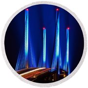 Indian River Inlet Bridge As Seen North Of Bethany Beach In This Award Winning Perspective Photo Round Beach Towel