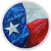 Red White And Texas Round Beach Towel