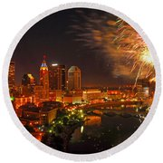Red White And Boom Photo Round Beach Towel
