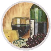 Red Wine And Cheese Round Beach Towel