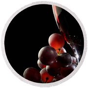 Red Wine With Grapes Round Beach Towel