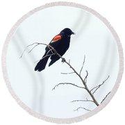 Red-winged Blackbird Round Beach Towel
