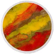 Red Yellow Gold Abstract Round Beach Towel