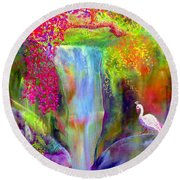 Waterfall And White Peacock, Redbud Falls Round Beach Towel