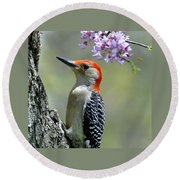 Redbud With Woodpecker Round Beach Towel
