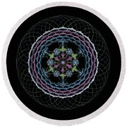 Round Beach Towel featuring the painting Redemption by Keiko Katsuta
