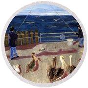 Redondo Beach Pelicans Round Beach Towel by Jamie Frier