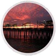 Redondo Beach Pier At Sunset Round Beach Towel