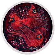 Reds Round Beach Towel by Linda Simon