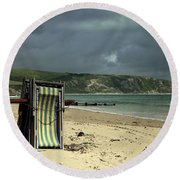 Round Beach Towel featuring the photograph Redundant Deck Chairs by Linsey Williams