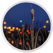 Reed At Twilight Round Beach Towel