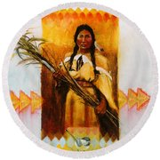Reed Gatherer Round Beach Towel