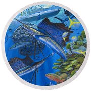 Reef Frenzy Off00141 Round Beach Towel by Carey Chen