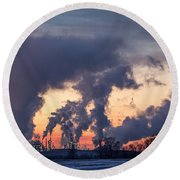 Round Beach Towel featuring the photograph Flint Hills Resources Pine Bend Refinery by Patti Deters