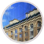 Reflected Building London Round Beach Towel