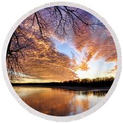 Reflected Glory Round Beach Towel by Cricket Hackmann