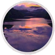 Reflected Sunset Round Beach Towel by Tom Culver