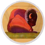 Round Beach Towel featuring the painting Reflecting Buffalo by Joseph J Stevens