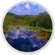 Reflecting In The Glades Round Beach Towel