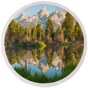Reflecting On Everything Round Beach Towel