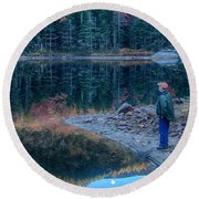Reflecting On Fall Foliage Reflection Round Beach Towel