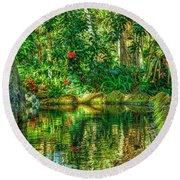 Reflecting On The Day Round Beach Towel