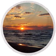 Round Beach Towel featuring the photograph Reflection by Barbara McMahon