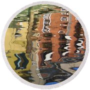 Reflection In A Venician Canal Round Beach Towel
