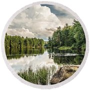 Round Beach Towel featuring the photograph Reflection Lake In New York by Debbie Green