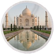 Reflection Of A Mausoleum In Water, Taj Round Beach Towel
