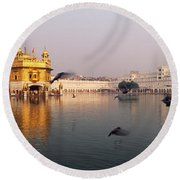 Reflection Of A Temple In A Lake Round Beach Towel