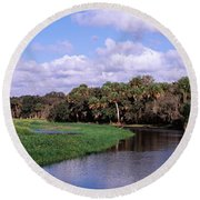 Reflection Of Clouds In A River, Myakka Round Beach Towel