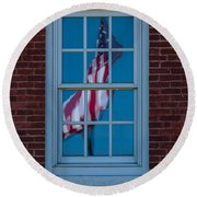 Round Beach Towel featuring the photograph Reflection Of Freedom by Patrick Shupert