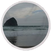 Round Beach Towel featuring the photograph Reflection Of Haystock Rock  by Susan Garren