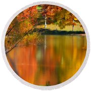 Reflection  Of My Thoughts  Autumn  Reflections Round Beach Towel