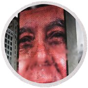 Reflection Of The The Crown Fountain Round Beach Towel
