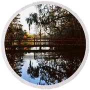Reflection Of Trees In Water, Magnolia Round Beach Towel