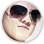 Round Beach Towel featuring the photograph Reflection by Pennie  McCracken