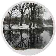 Round Beach Towel featuring the photograph Reflection Pond Spring Grove Cemetery by Kathy Barney