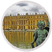 Reflection Pool Of Versailles Round Beach Towel