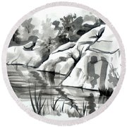 Round Beach Towel featuring the painting Reflections At Elephant Rocks State Park No I102 by Kip DeVore