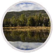 Reflections At Lily Pond Round Beach Towel