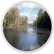 Round Beach Towel featuring the photograph Reflections Caught On Ice At A Pretty Lake In New Hampshire by Eunice Miller