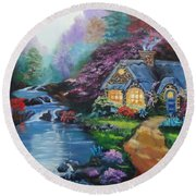 Round Beach Towel featuring the painting Reflections Cottage by Jenny Lee