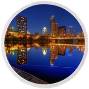 Round Beach Towel featuring the photograph Reflections by Dave Files