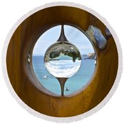 Reflections In A Glass Ball Round Beach Towel