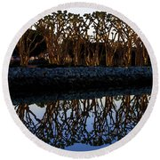 Round Beach Towel featuring the photograph Reflections In First Light by Gary Holmes